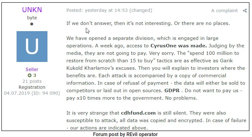 Post ze skupiny ransomware Maze