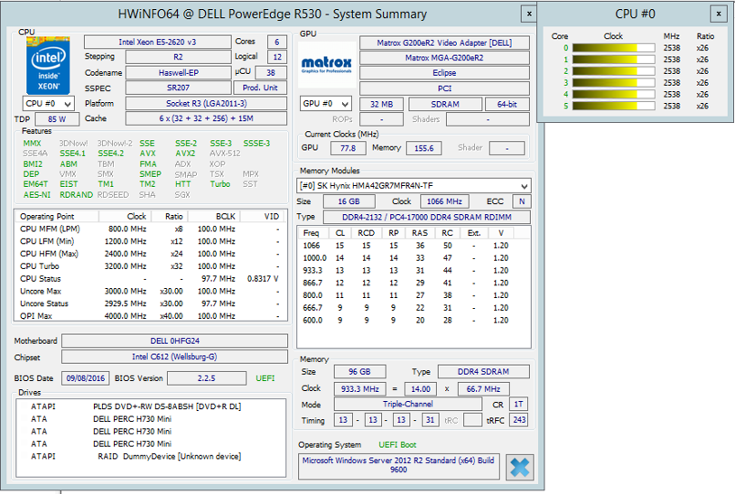Parametry CPU a RAM – zákazník 4 – aplikace HWiNFO64