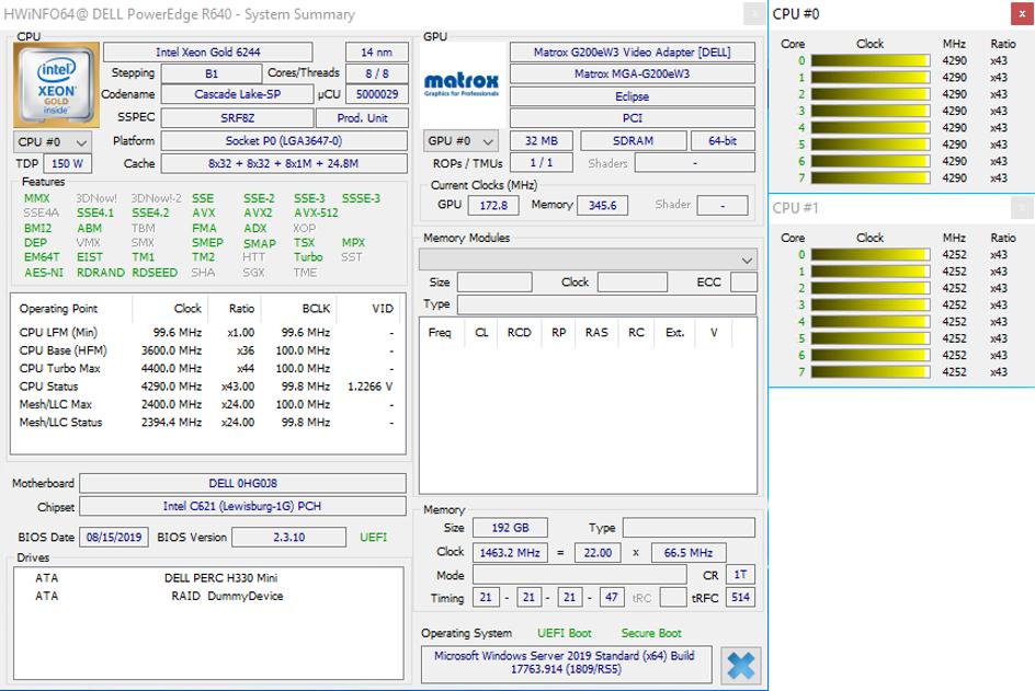 Parametry CPU a RAM – zákazník 1 – aplikace HWiNFO64
