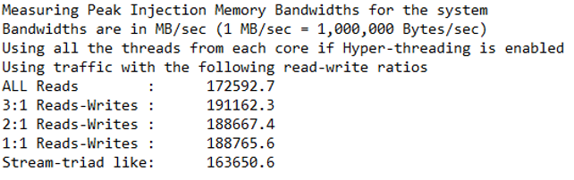 Syntetický test RAM – zákazník 1 – aplikace MLC (Memory Latency Checker)
