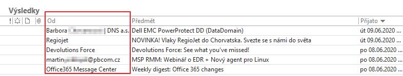 """Outlook ve výchozím nastavení zobrazuje jenom """"jméno"""" odesílatele."""